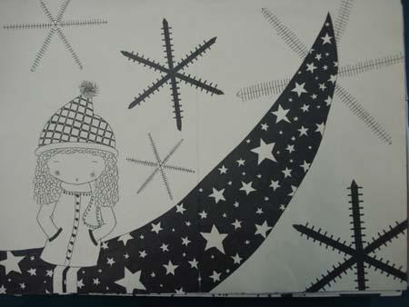 初二年级黑白装饰画作品(一)