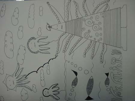 初二年级黑白装饰画作品(二)