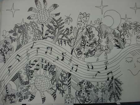 六年级学生黑白装饰画优秀作品展示