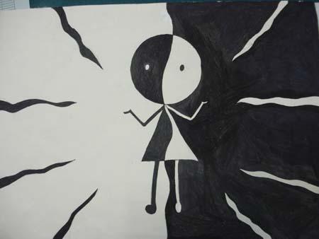 初二年级黑白装饰画作品 学生作品 上海市民办华育中学