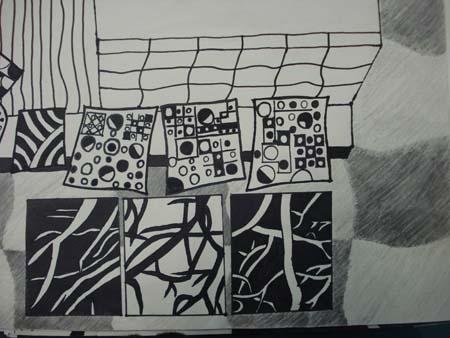 初二年级黑白装饰画作品(三)