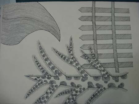 初二年级黑白装饰画作品(四)